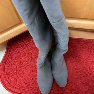Above your knee gray faux boots.